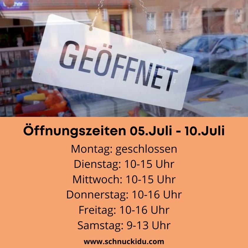 Sonderöffnungszeiten für die Woche vom  05.-10.Juli 2021 😍🥳