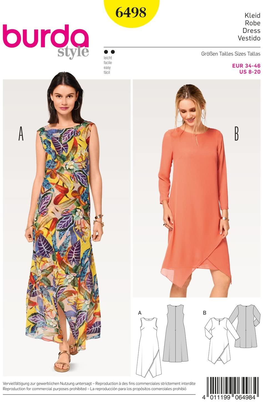 Burda 6498 Schnittmuster Kleid mit Wickeleffekt (Damen, Gr. 34 - 46) Level 2 leicht