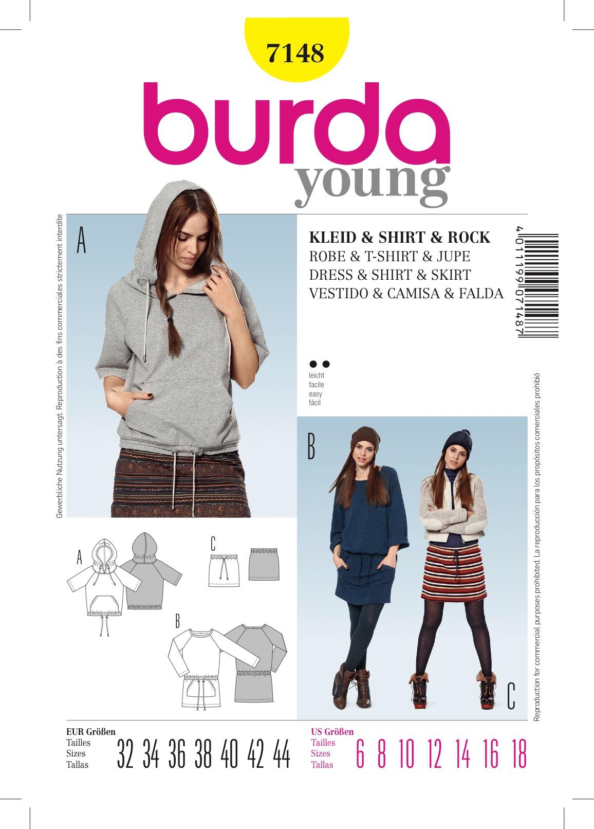 Burda 7148 Schnittmuster Kapuzenshirt Sweatshirtkleid Rock mit Kordelzug (Damen, Gr. 32 - 44) Level 2 leicht