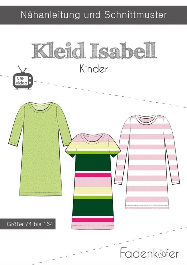 Papierschnittmuster Fadenkäfer - Papierschnittmuster Kleid Isabell Kinder - 74 bis 164