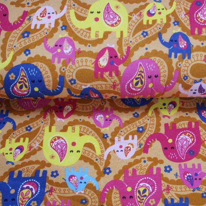 Baumwolljersey - Jersey Stoff - Motivjersey - Bunte Elefanten auf Orange