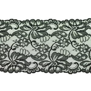 Elastische Spitze - Perlonspitze - 15 cm - Schwarz