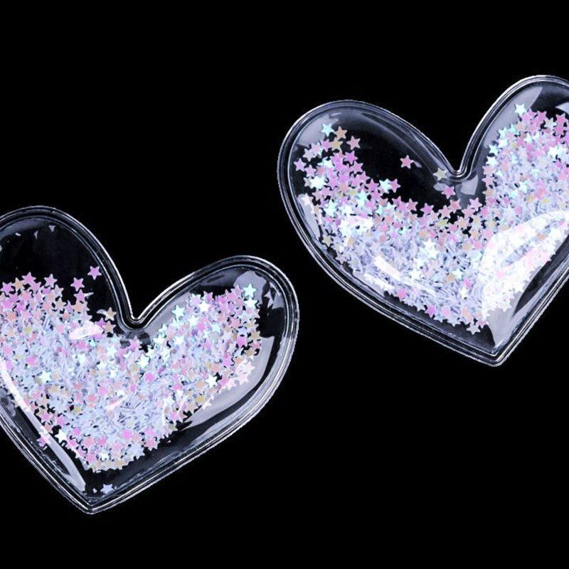 Applikation Herz gefüllt mit Pailletten - Sterne - Weiß - ca. 60mm x 65mm x 9mm