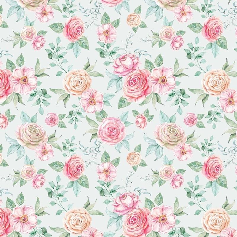 Baumwolljersey - Jersey Stoff - Motivjersey - Digitaldruck - Rosen auf Ecru