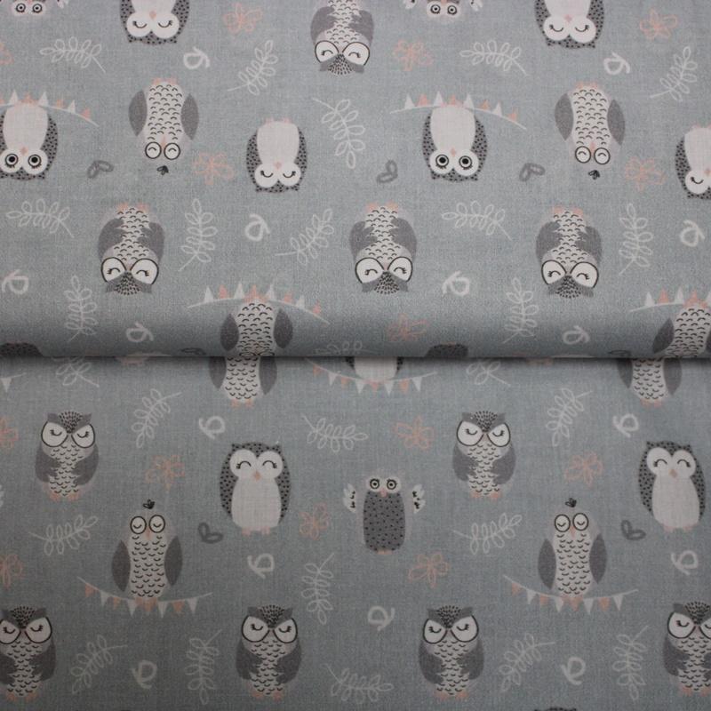 Baumwolle - Baumwoll Stoff - Eulen auf Graublau