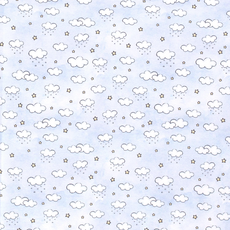 Sweat leicht angeraut - Sweat Stoff - Motivsweat - Wolken und Sterne auf Hellblau