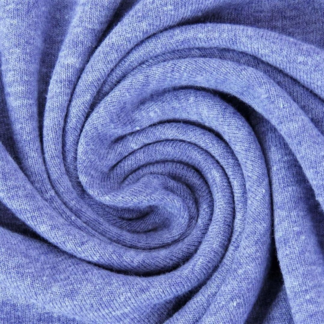Baumwolljersey Melange - Jersey Stoff Uni meliert - Kobalt meliert