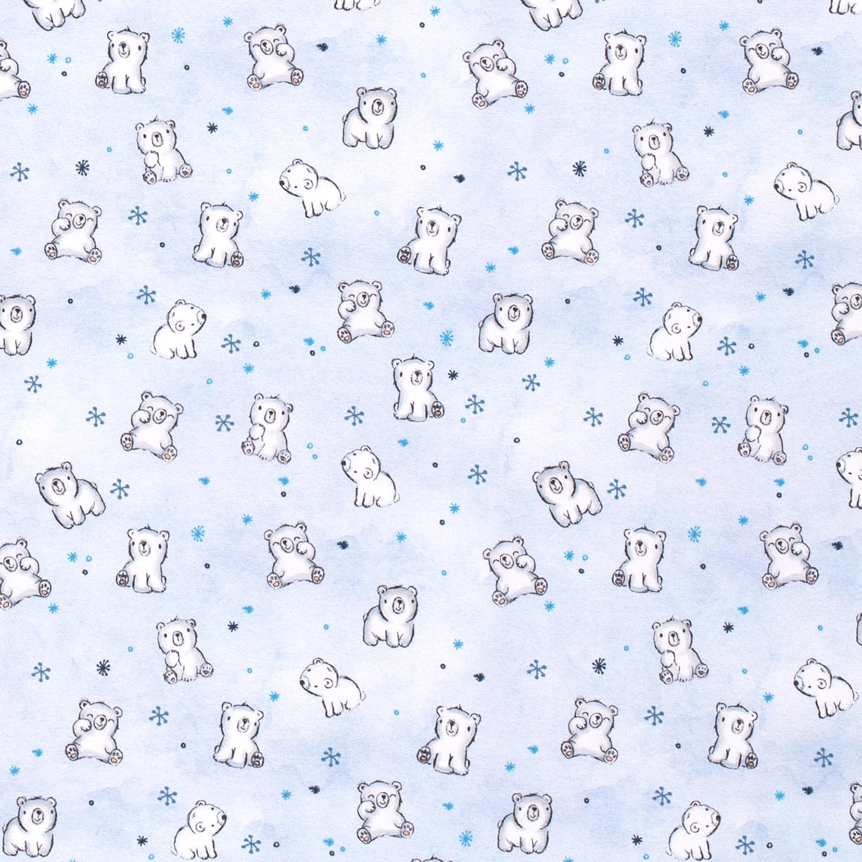Sweat leicht angeraut - Sweat Stoff - Motivsweat - Kleine Eisbären auf Hellblau