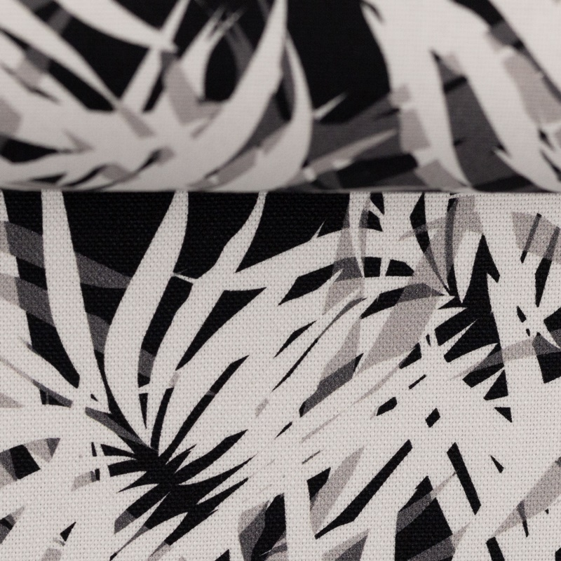 Canvas - Dekostoff - Leinenoptik - Rinteln - Palmenblätter Grau/Schwarz