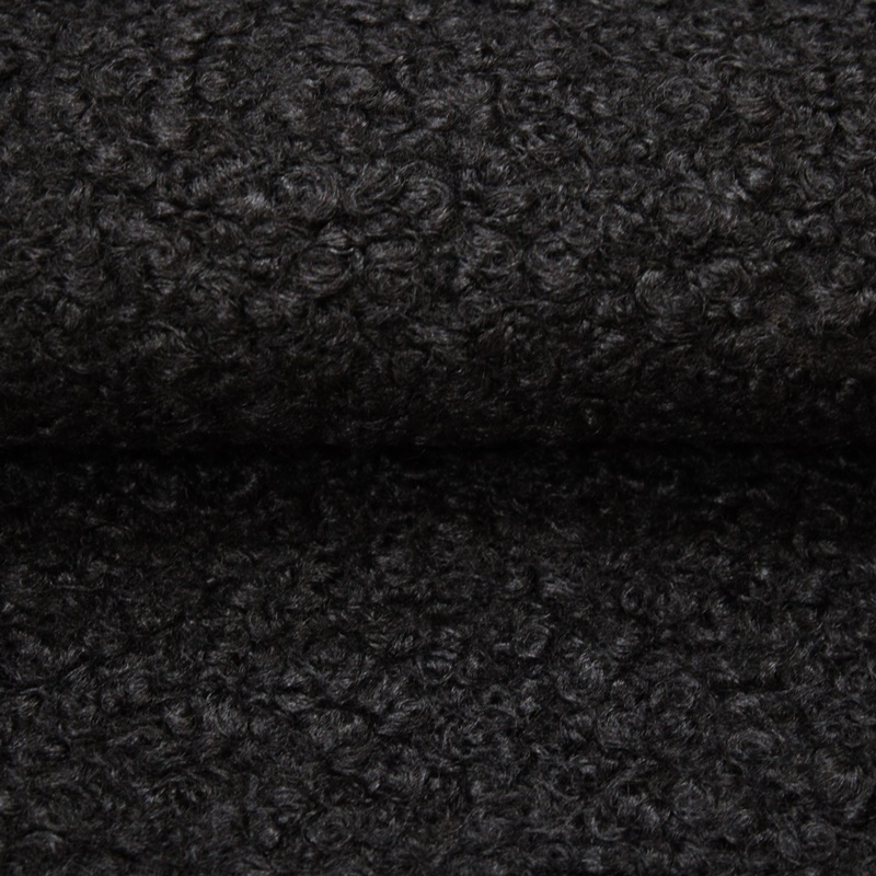 Mantelstoff - Wollstoff - Lammfell-Look - Anthrazit