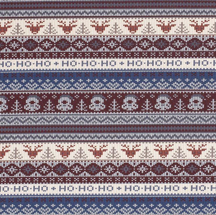 Sweat - leicht angraut - Weihnachtliches Design - Hohoho - Pixel in Bordeaux/Blau