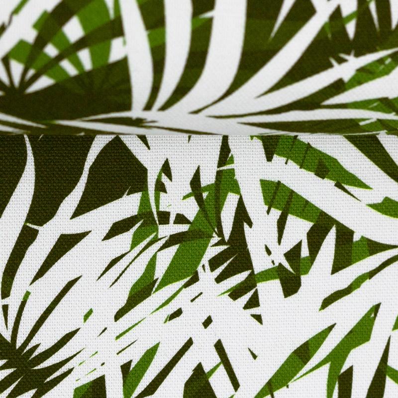 Canvas - Dekostoff - Leinenoptik - Rinteln - Palmenblätter Grün/Khaki