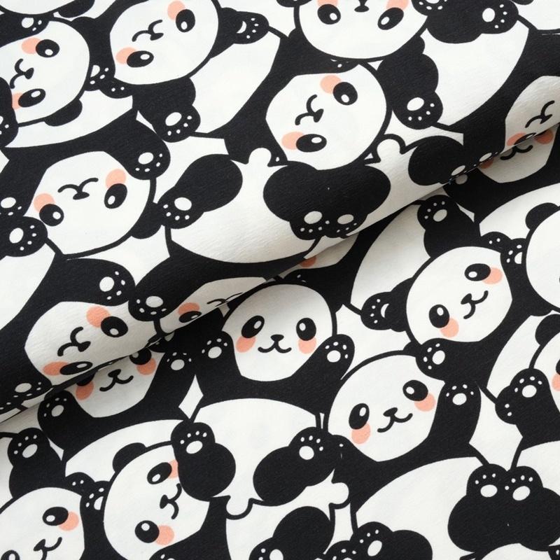 Baumwolljersey - Jersey Stoff - Motivjersey - Pandas auf Offwhite
