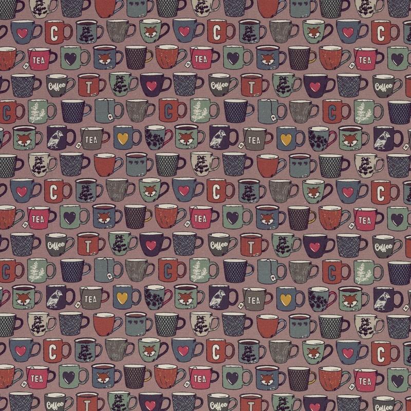 Canvas - Dekostoff - Leinenoptik - Swafing - Coffeebreak by Lila-Lotta - Tassen auf Altrosa