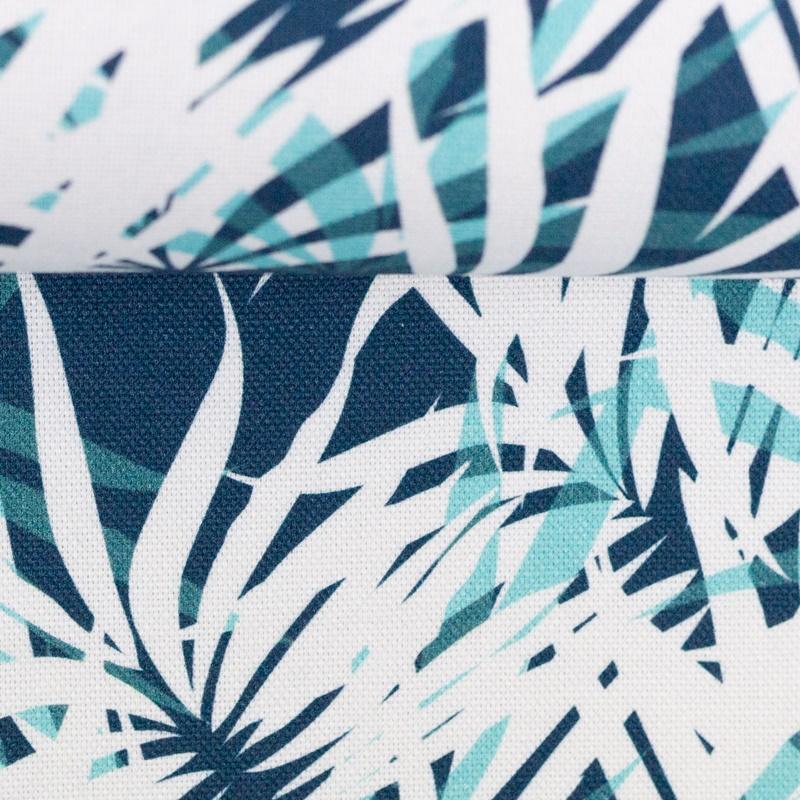 Canvas - Dekostoff - Leinenoptik - Rinteln - Palmenblätter Mint/Petrol