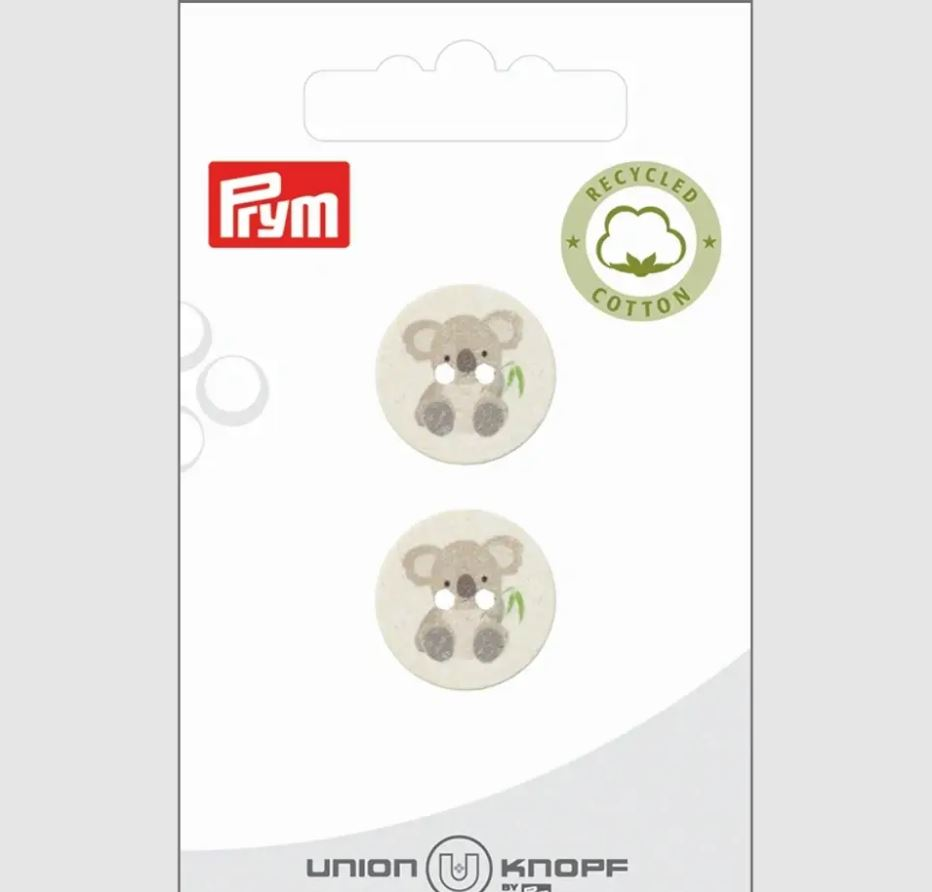 Knopf - Baumwoll/Polyesterknopf - 2 Loch - 18mm - recycelt - Koala - 2 Stück