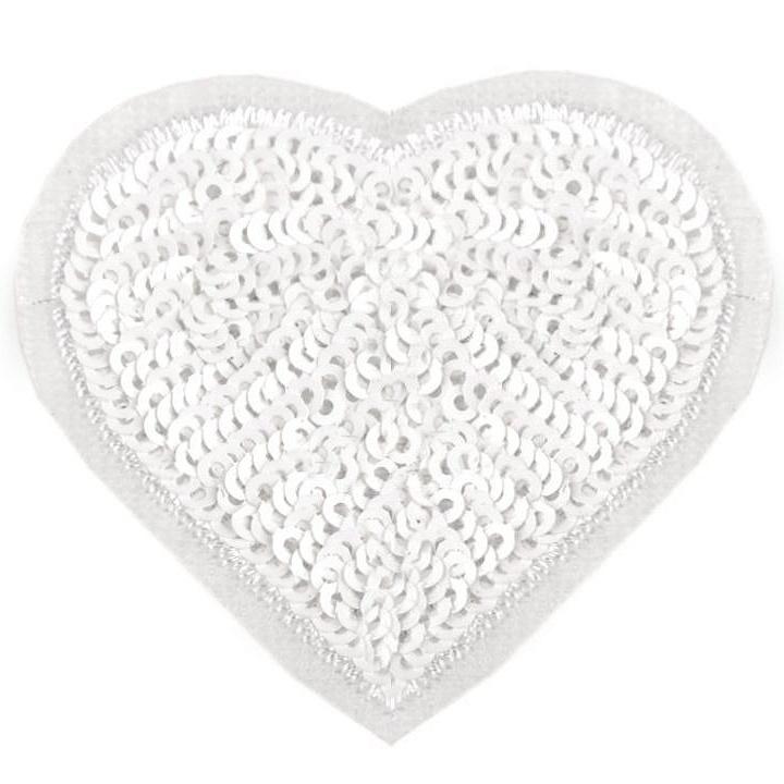 Aufbügler - Patch - Patches - Herz mit Glitzerpailetten - Weiß - 5,5cm x 6cm