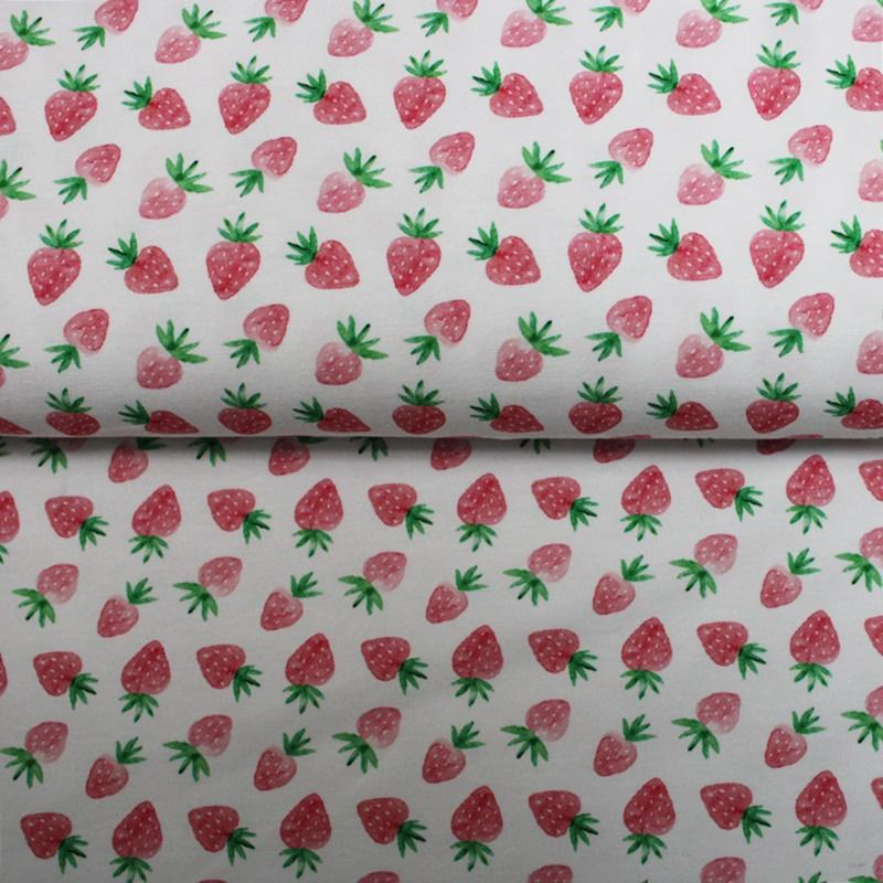 Baumwolljersey  - Motivjersey - Erdbeeren auf Weiß