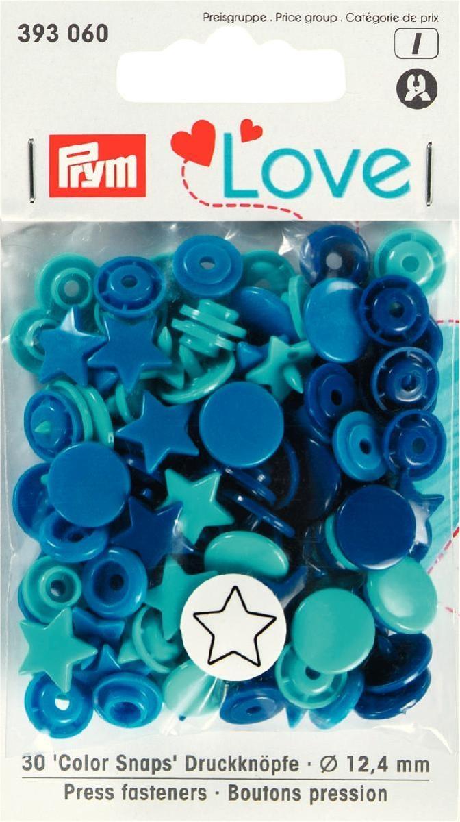 Druckknopf Color, Prym Love, Stern, 12,4mm, blau/türkis/tinte - 393060