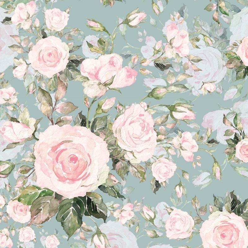 French Terry - Motiv - Digitaldruck - Süße Rosen auf Altgrün