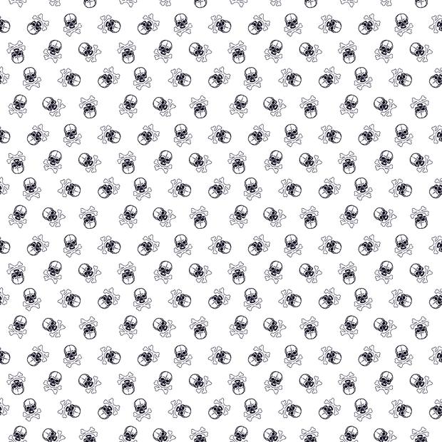 Baumwoll Stoff - Baumwolle - Patchwork Baumwolle - Kleine Totenköpfe in Schwarz auf Weiß