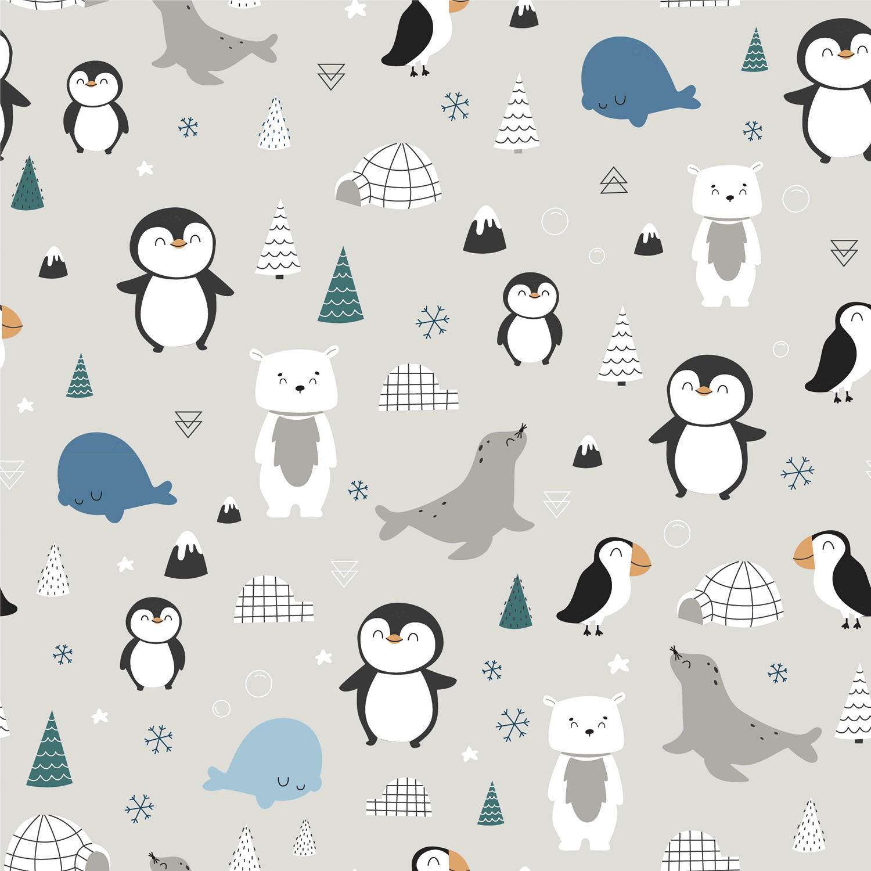 Baumwolljersey - Jersey Stoff - Pinguine, Eisbären und Robben auf Hellgrau
