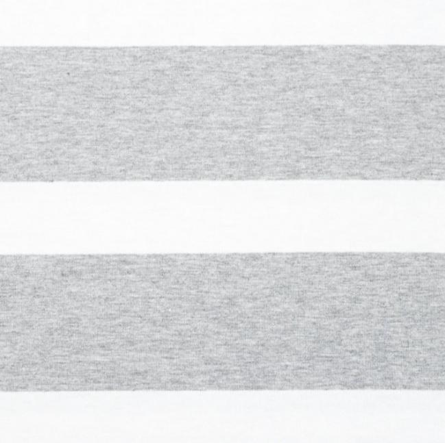 Baumwolljersey - Jersey Stoff - Motivjersey -  Streifen in Grau auf Weiß Reststück 60cm x 180cm