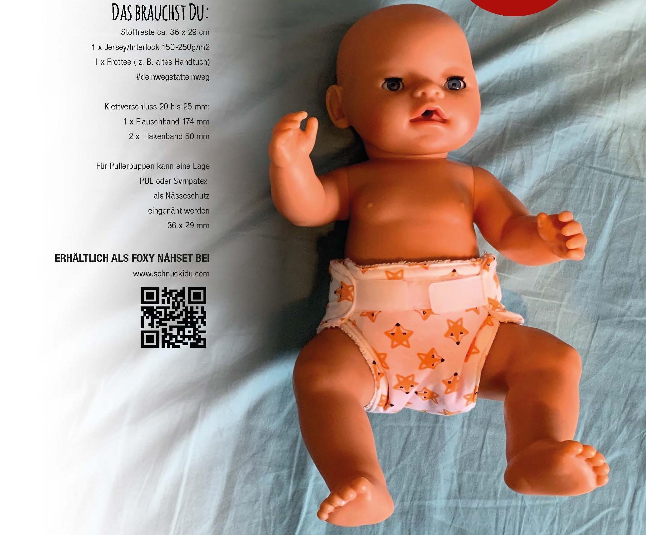 Foxy Schnuckidu Freebook - PUPPEN-STOFFWINDEL-DIY für Puppen 32 bis 40 cm