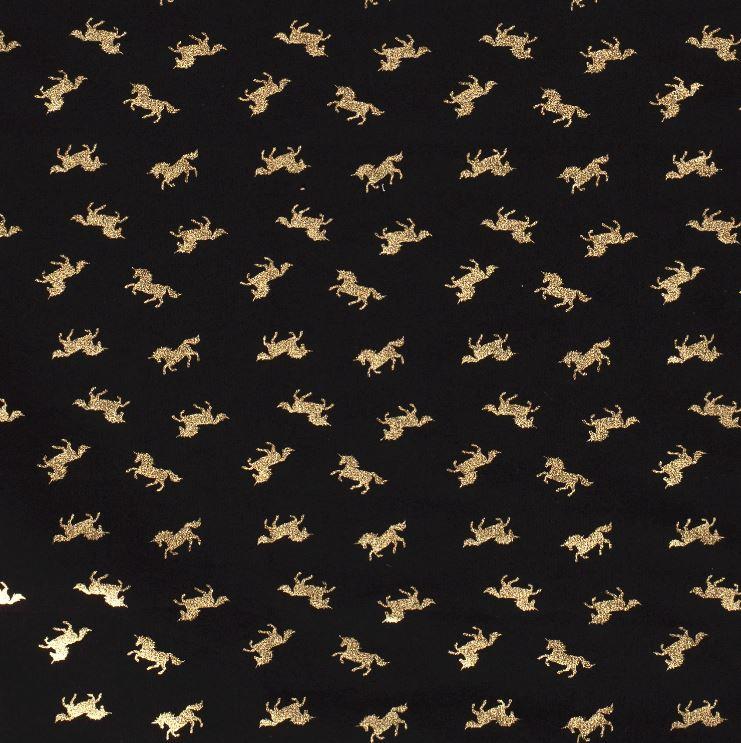 Baumwolljersey - Jersey Stoff - Einhörner mit Foliendruck auf Navy
