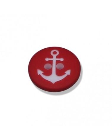 Knopf - Knöpfe - niedlicher Anker weiß auf rot - 15mm - 1 Stück