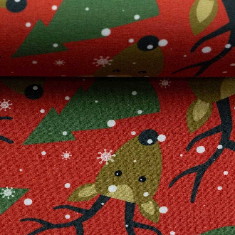 Sweat angeraut - Sweat Stoff - Swafing - Frohe Weihnachten - Rentierköpfe und Tannenbäume auf Rost
