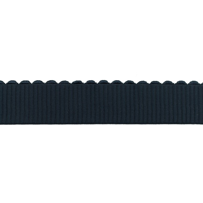 Gummiband mit glänzender Bogenkante - 40mm - Uni Marine