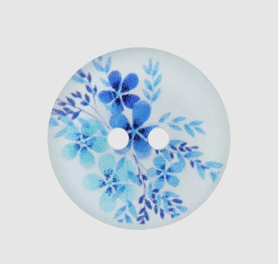 Knopf - Polyesterknopf - 2-Loch - 20mm -  Blumen - Blau