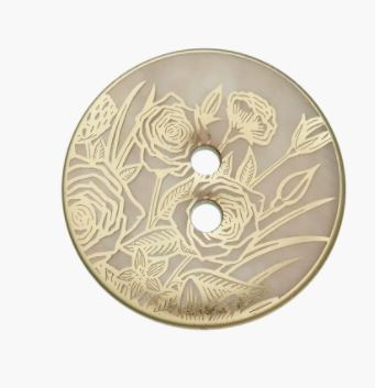 Perlmuttknopf 2-Loch 20mm hellgrau, gold bedampft