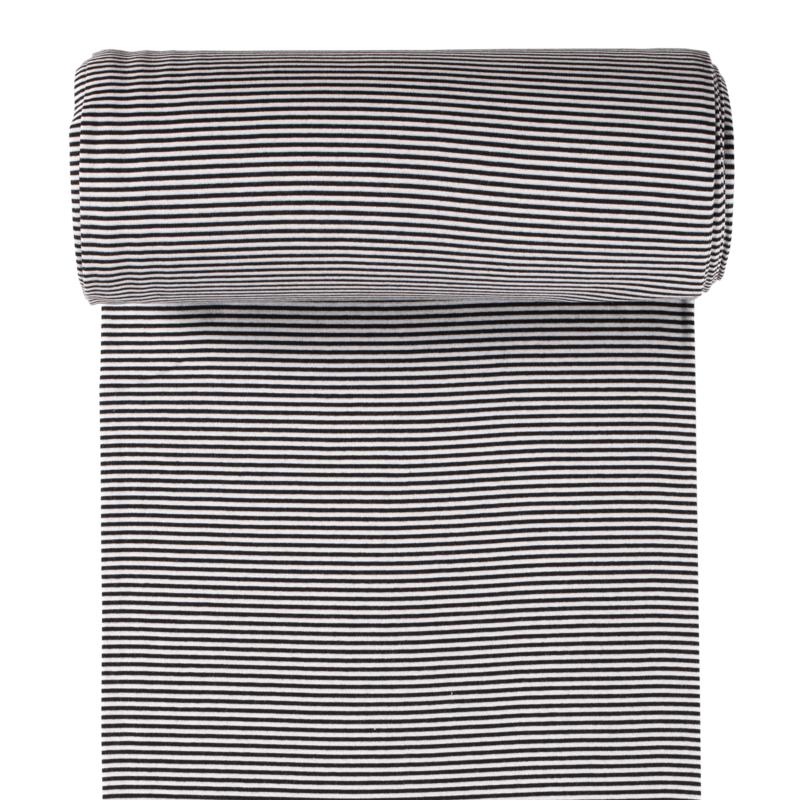 Ringelbündchen - Bündchen Stoff Glatt kleine Streifen - Schwarz/Weiß