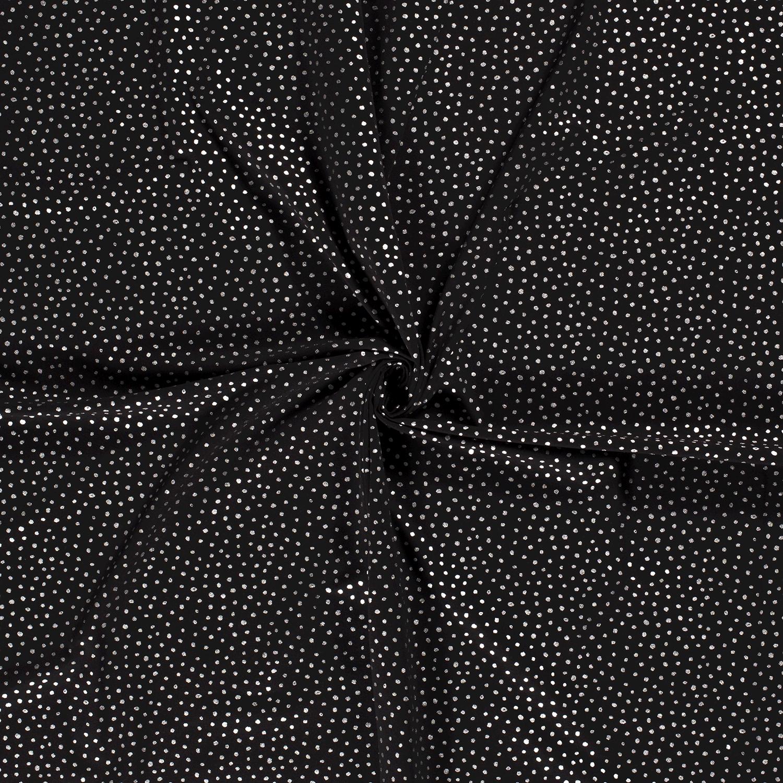Baumwolljersey - Jersey Stoff - Punkte mit Foliendruck auf Schwarz