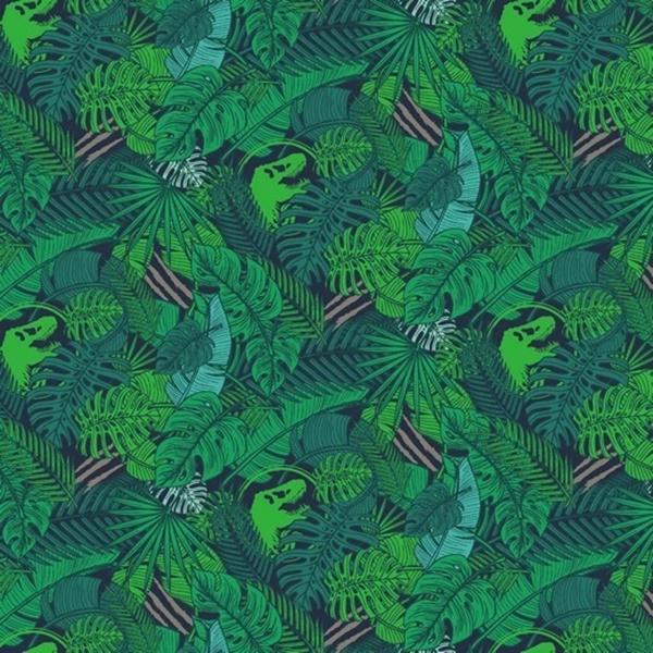 Baumwolljersey - Jersey Stoff - Motivjersey - Dinosaurier Logo mit Pflanzen