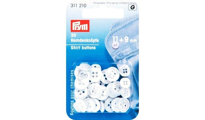 Prym - Hemdenknöpfe KST 11 + 9 mm perlmutt