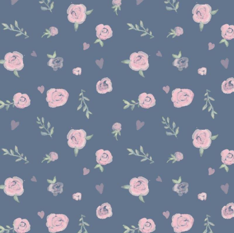 Baumwolljersey - Jersey Stoff - Motivjersey - Digitaldruck - Rosen auf  Dunkles Jeans