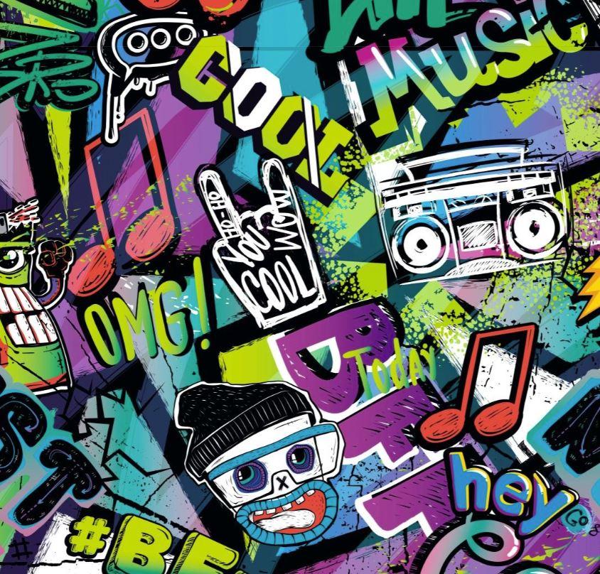 Baumwolljersey - Jersey Stoff - Motivjersey - Digitaldruck - Graffiti Style auf Lime