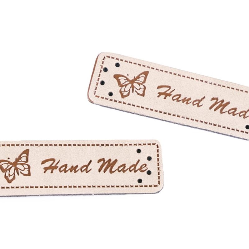 Label - Kunstleder Label - Hand Made - Beige - 1 Stück