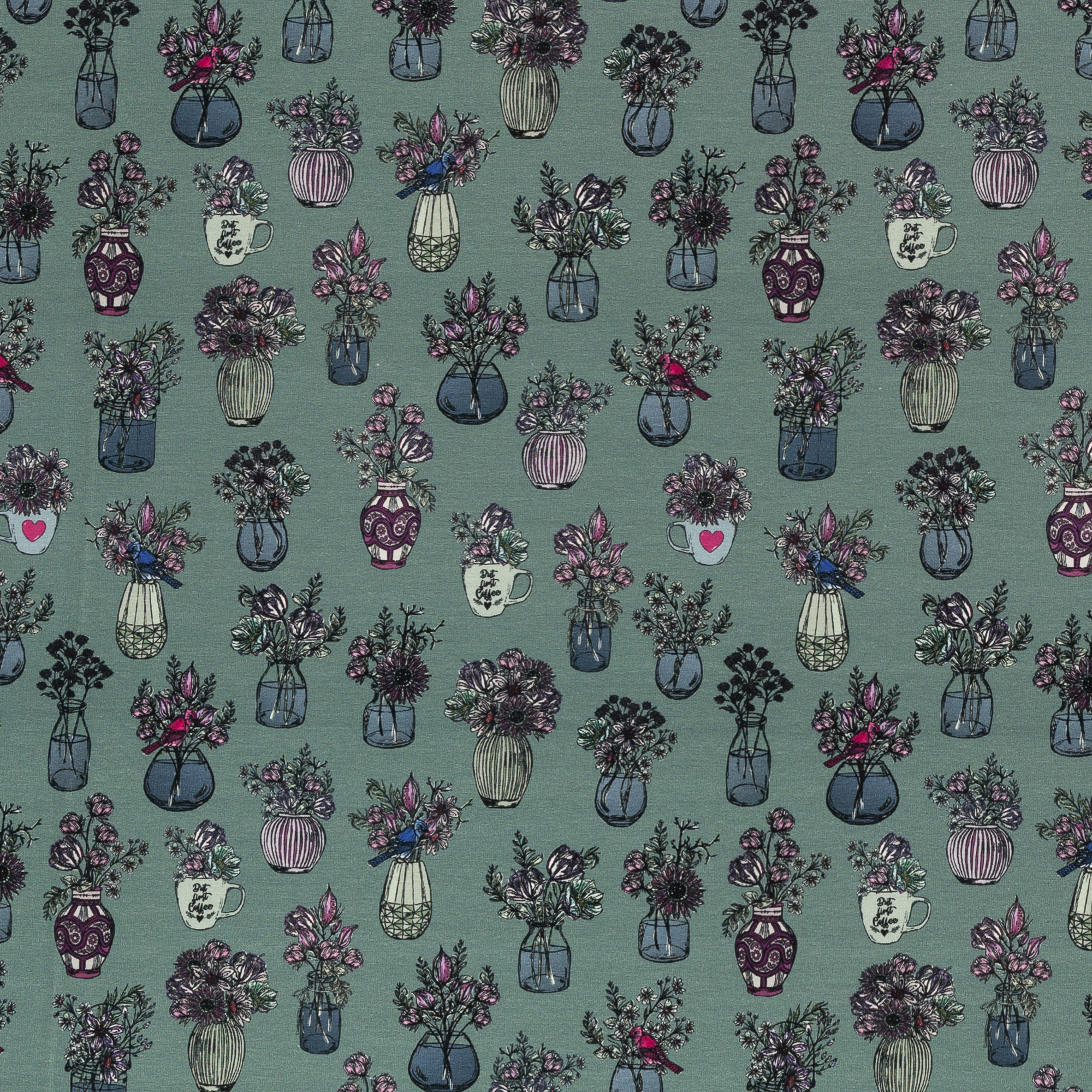 French Terry - Sommersweat - Swafing - All my Flowers by Lila-Lotta - Dusty Mint