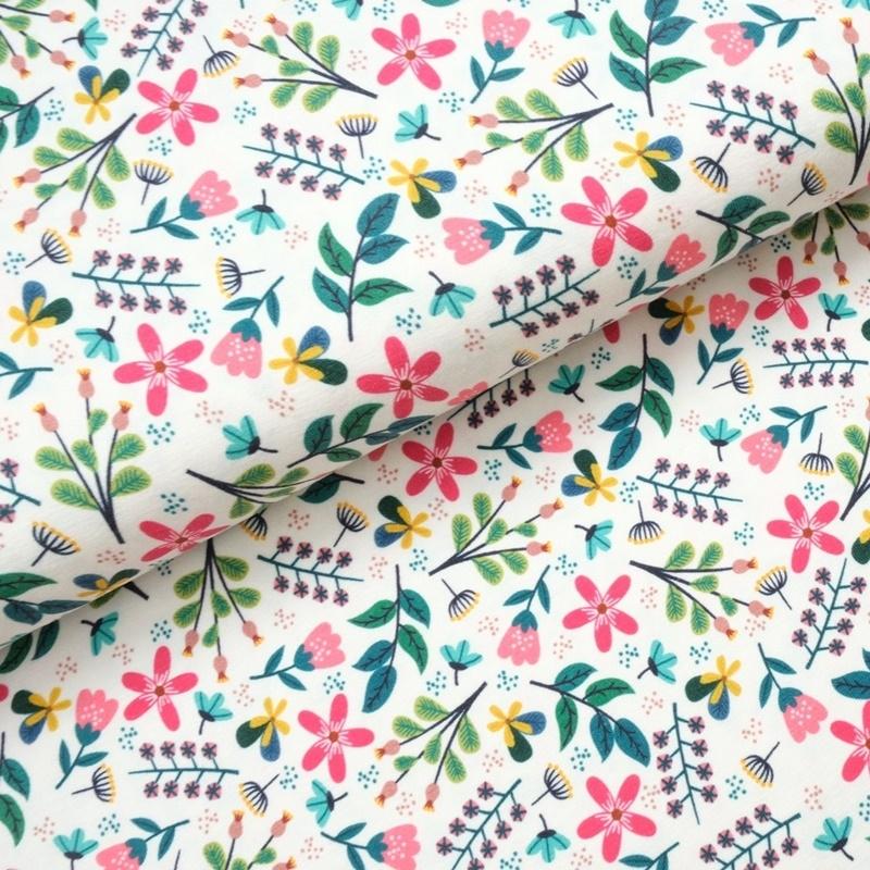 Baumwolljersey - Jersey Stoff - Motivjersey - Sommerblumen auf Offwhite Resststück 100cm