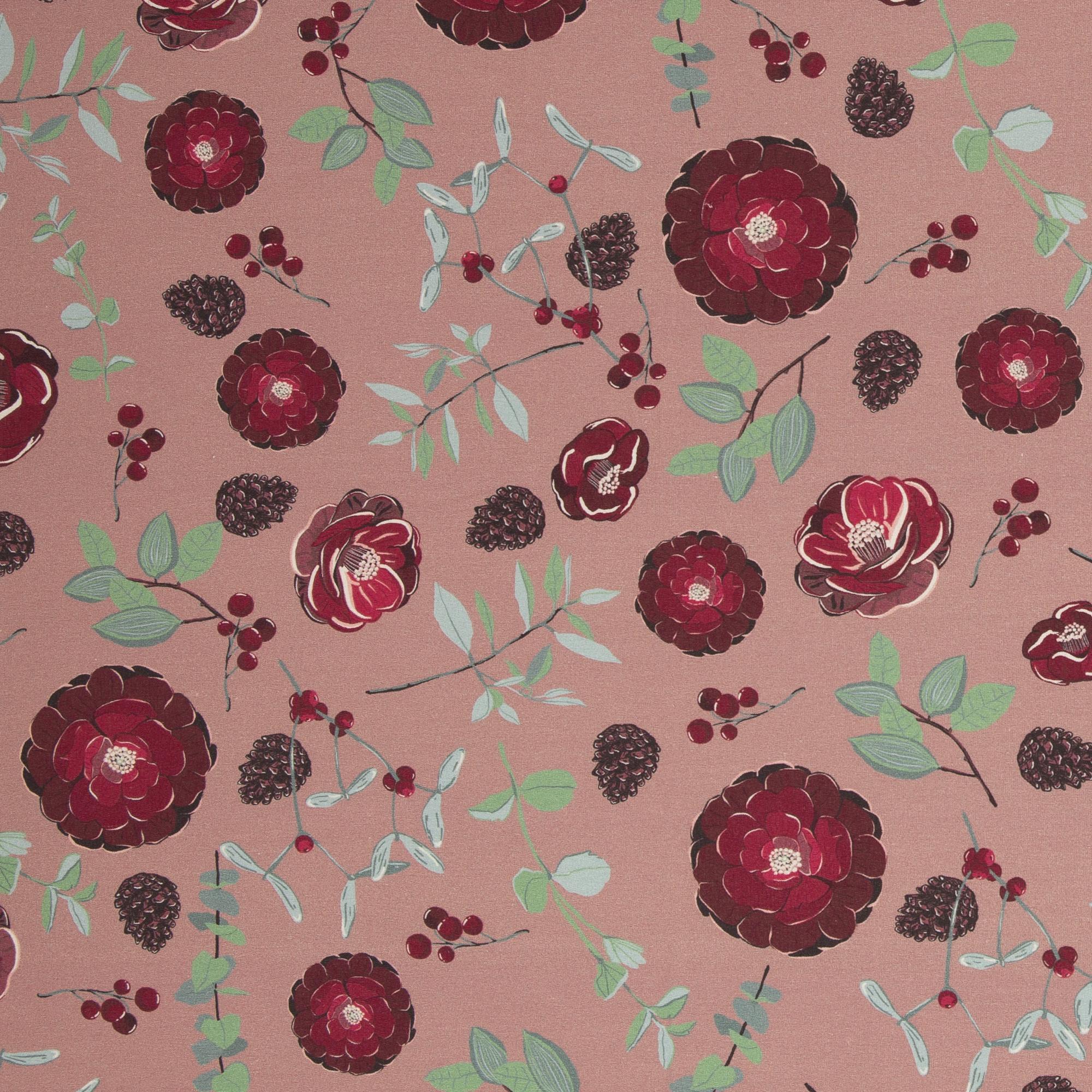 French Terry - Sommersweat - Swafing - Yva by Bienvenido Colorido - Blumen und Beeren auf Altrosa