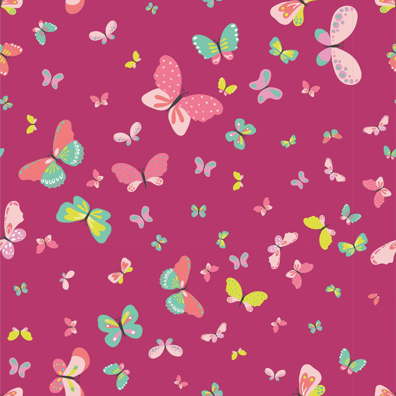 Baumwolljersey - Jersey Stoff - Bunter Schmetterlinge auf Pink