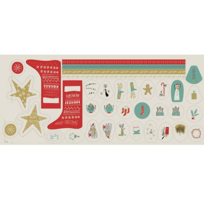 Katia Fabrics - Canvas - Dekostoff - Panel - XMAS Deco - Panel mit Nikolausstiefels und Dekoelemente