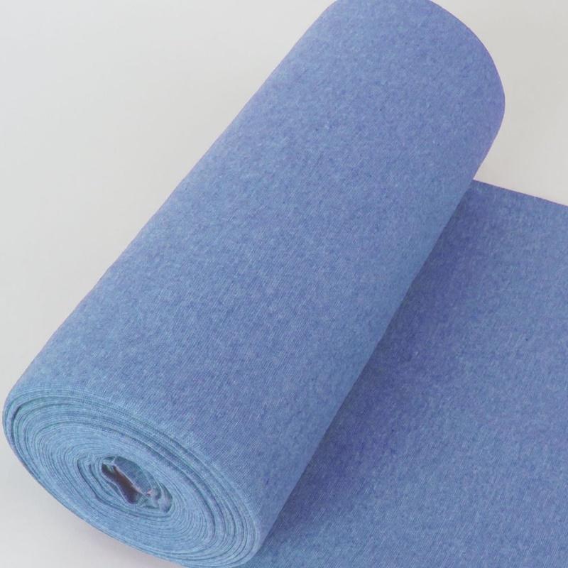 Bündchen Stoff Feinripp Uni - Hellblau Melange