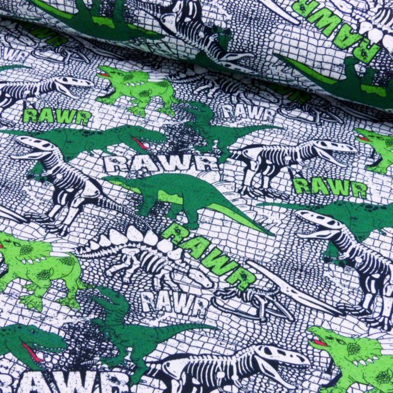 Baumwolljersey - Jersey Stoff - Motivjersey - Rawr - Dinos in Grün und Skelette in Weiß