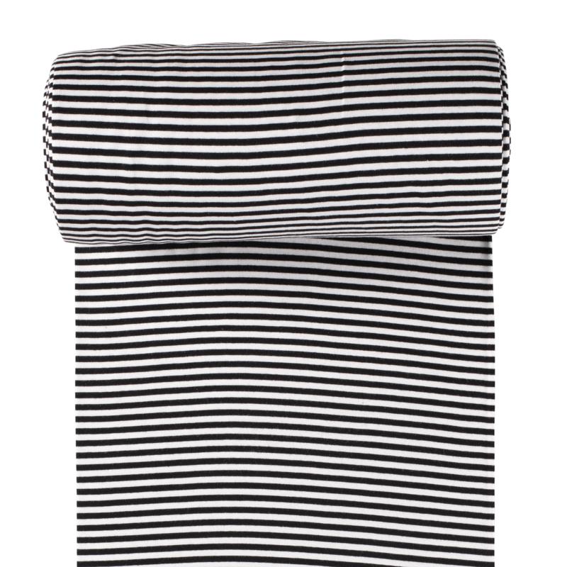 Ringelbündchen - Bündchen Stoff  Glatt Streifen - Schwarz/Weiß