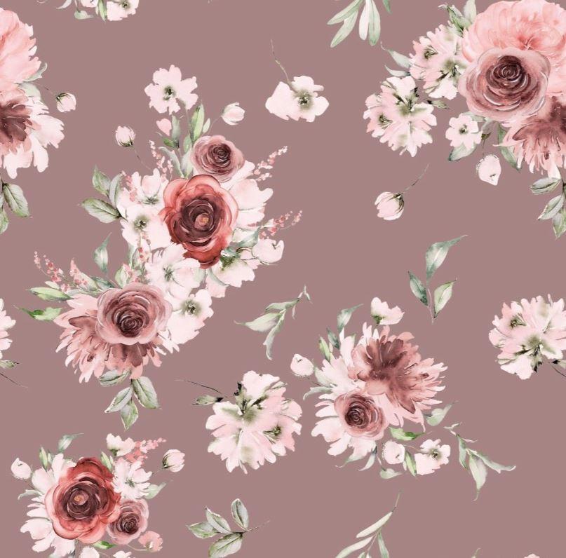 Baumwolljersey - Jersey Stoff - Motivjersey - Digitaldruck - Rosen auf Dunkles Altrosa